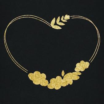 Marco dorado botánico en forma de corazón