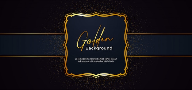 Marco dorado brillante decorativo con efecto de decoración de brillo dorado sobre fondo de papel azul oscuro