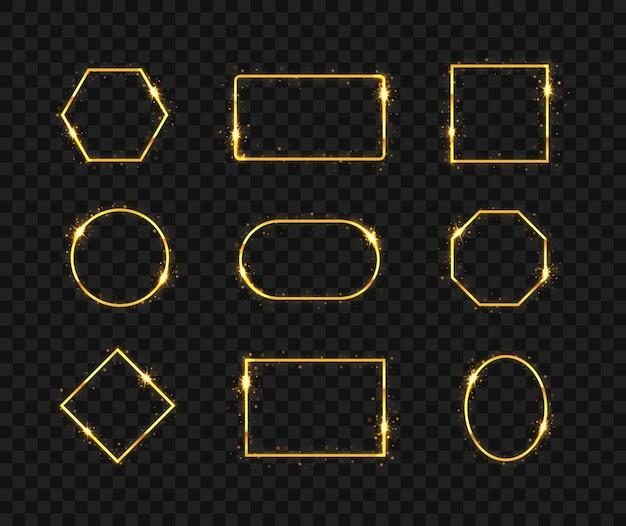 Marco dorado brillante de lujo. círculo de brillo, cuadrado, polígono, rectángulo.