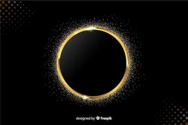 Marco dorado brillante sobre fondo negro