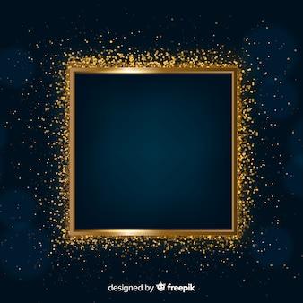 Marco dorado brillante sobre fondo oscuro