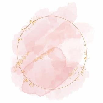 Marco dorado circular acuarela abstracta