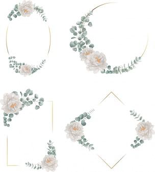 Marco dorado con colección de peonía y eucalipto
