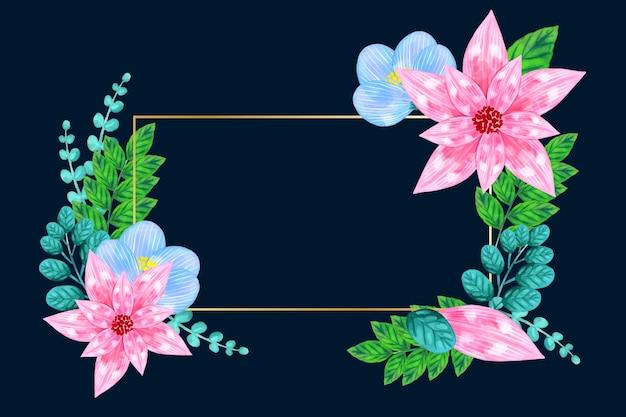 Marco dorado con concepto de flores de invierno