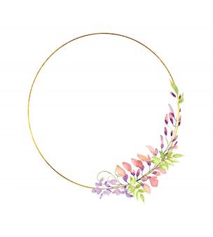 Marco dorado dorado con flores y hojas