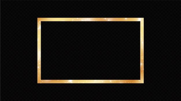 Marco dorado con efectos de luces aislados en negro