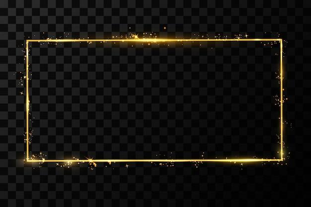 Marco dorado con efectos de luces. brillante banner de rectángulo. aislado