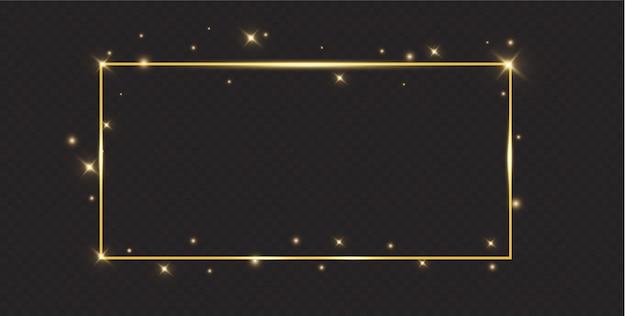 Marco dorado con efectos de luces. brillante banner de rectángulo.