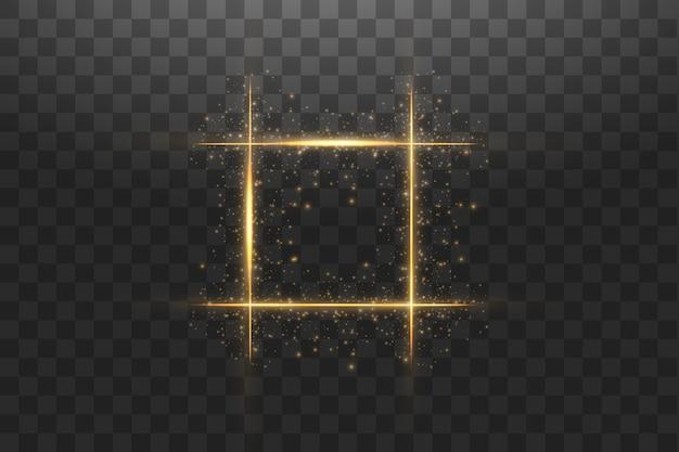 Marco dorado con efectos de luces. ilustración de banner de lujo brillante.