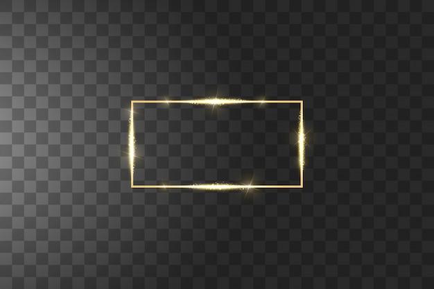 Marco dorado con efectos de luces. lujo brillante