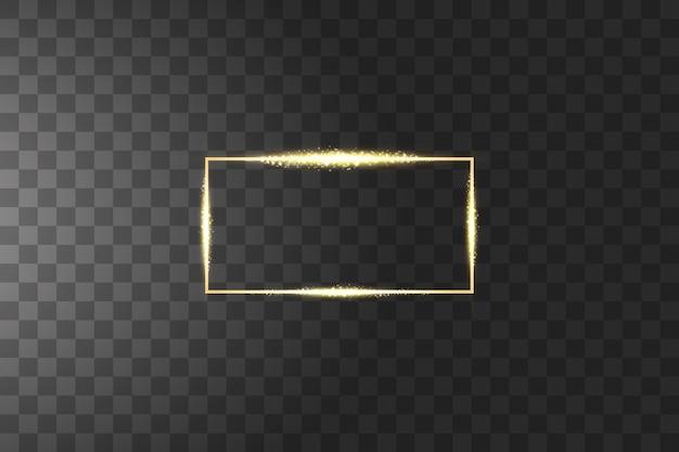 Marco dorado con efectos de luces. marco dorado de línea brillante, rectángulo brillante
