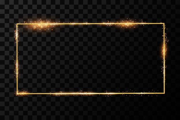 Marco dorado con efectos de luces. rectángulo brillante aislado sobre fondo negro transparente.