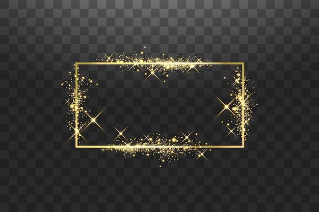 Marco dorado con efectos de luces. rectángulo brillante