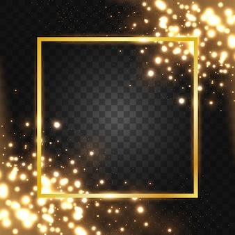 Marco dorado con efectos de luces.
