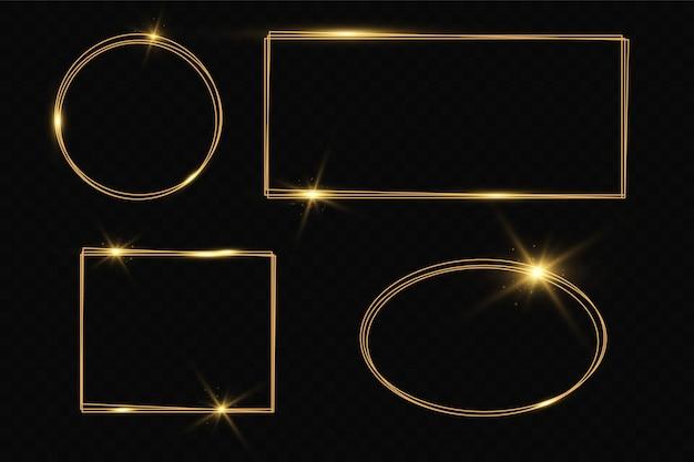 Marco dorado con efectos de luz. banner de rectángulo brillante. aislado sobre fondo negro transparente.