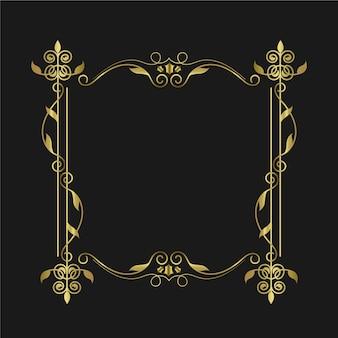 Marco dorado elegante borde ornamental