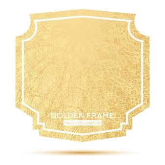 Marco dorado con espacio de copia aislado sobre fondo blanco. ilustración de vector.