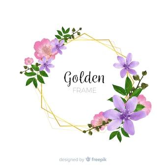 Marco dorado con flores en acuarela