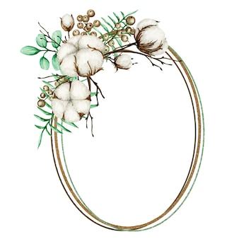 Marco dorado de flores de algodón acuarela. botánico dibujado a mano ilustración de tarjeta de boda ecológica.