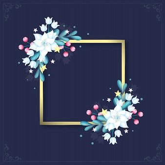 Marco dorado con flores de invierno
