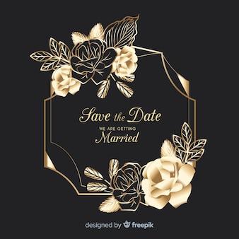 Marco dorado con flores