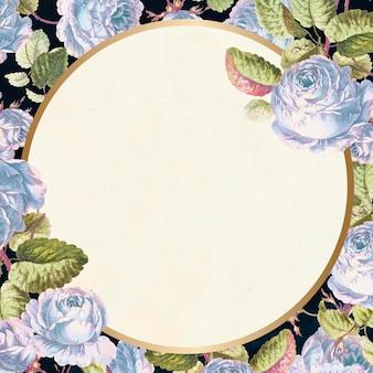 Marco dorado fondo floral estilo vintage