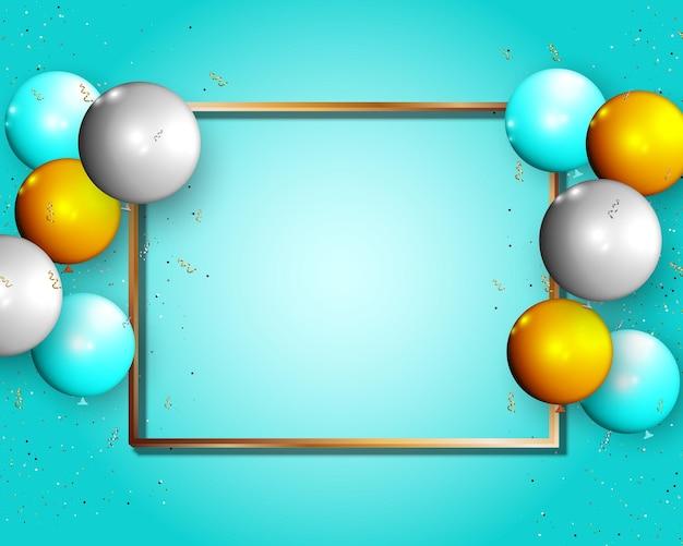 Marco dorado con globo y conffetti sobre fondo azul ilustración vectorial