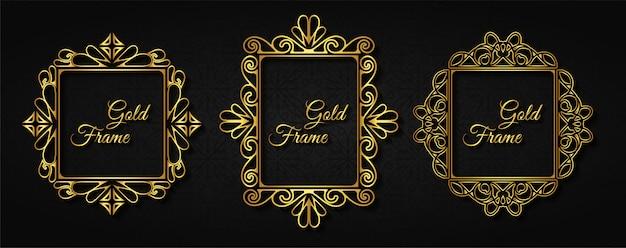 Marco dorado de invitación de lujo