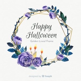 Marco dorado lineal de acuarela con concepto de halloween