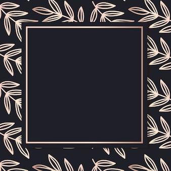Marco dorado patrón arte hojas fondo elegante cubierta tarjeta