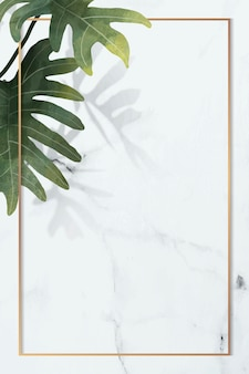 Marco dorado con patrón de hojas de philodendron radiatum sobre fondo de mármol blanco
