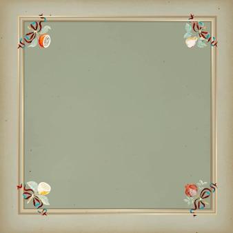 Marco dorado en plantilla de fondo verde vintage
