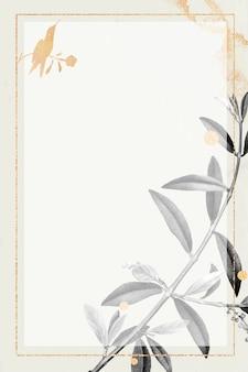 Marco dorado rectangular con patrón de rama de olivo