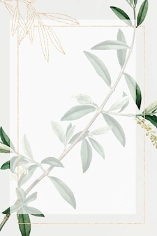 Marco dorado rectangular con rama de olivo
