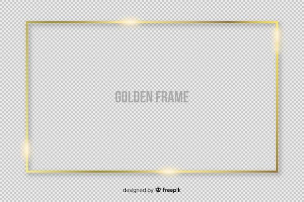 Marco dorado rectangular realista