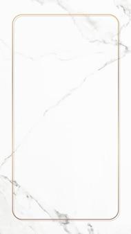 Marco dorado rectangular en vector de fondo de pantalla de teléfono móvil de mármol blanco
