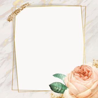 Marco dorado rectángulo floral