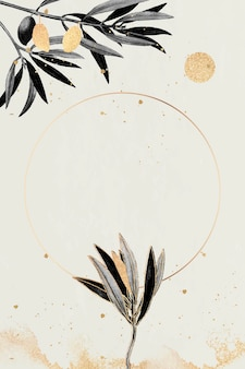 Marco dorado redondo con ramas de olivo
