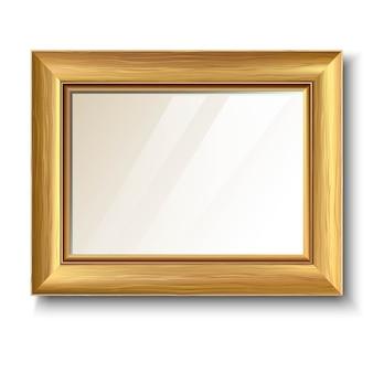 Marco dorado retro con textura de madera