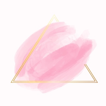 Marco dorado simple con mancha de acuarela