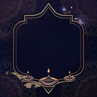 Marco dorado sobre fondo de diwali