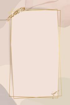 Marco dorado sobre fondo neutro de acuarela