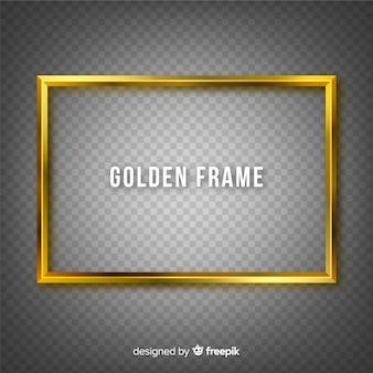 Marco dorado sobre fondo transparente