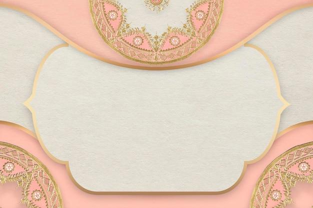 Marco dorado vintage sobre fondo rosa mandala, remezclado del diseño de vajilla de porcelana china de la fábrica noritake