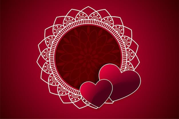 Marco de dos corazones decorativos con espacio de texto