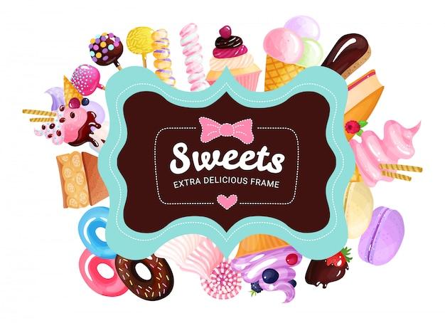 Marco de dulces de moda