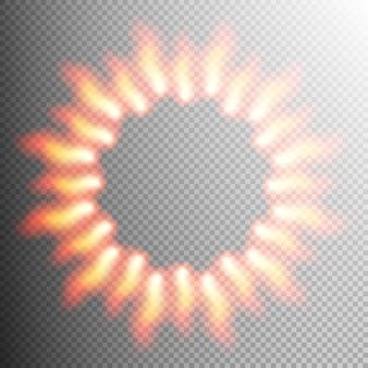 Marco de efecto transparente de fuego realista.