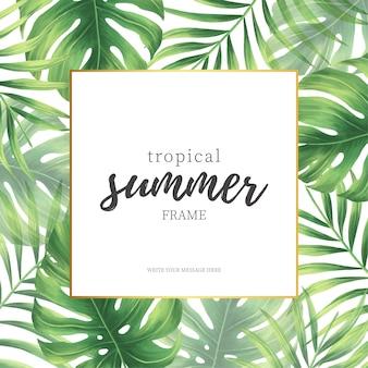 Marco elegante de verano tropical