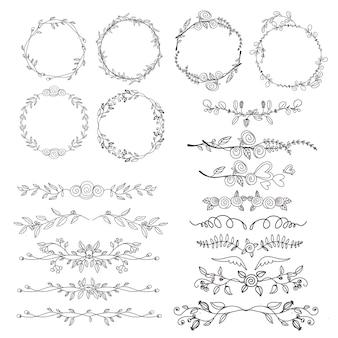 Marco y elemento ornamental dibujado a mano