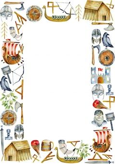 Marco con elementos acuarelas de la cultura vikinga